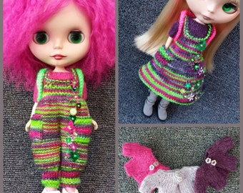 PDF Pattern for Blythe Romper Rumpus, pinafore and cropped cardigan.