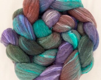Hand dyed top, Grey Merino, Tussah Silk, hand painted tops, roving, spinning fibre, Handspinning, spindling, rovings,