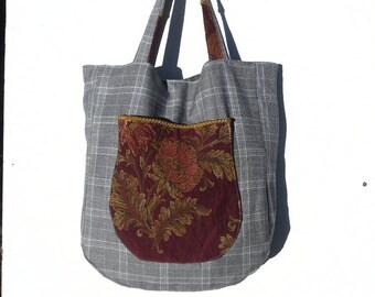 Gray Plaid XL handbag and fancy fabric.