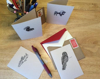 Set of 5 cards, your choice.  Mix and match note cards set. Thank you cards, all occasion cards, correspondence cards, blank note cards.