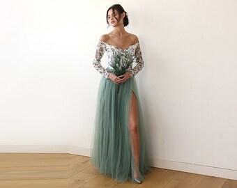 Off-Shoulder Dress,  Floral Tulle Dress, Green Tulle Dress, Long Sleeves Gown, Dress With Slit,  1176