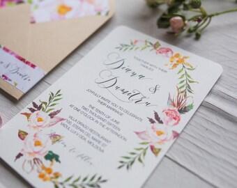 Wedding Invitation Suite, Printable Wedding Invitation Set, Floral Watercolor Invites, Nature Wedding Invite, Bohemian Wedding Wreath