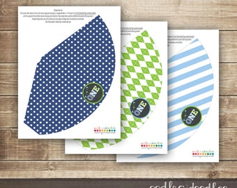 1st Birthday Party Hats / First Birthday Party Hats / Boy's Party Hats / Blue and Green / Argyle, Stripes & Polka Dots - Printable