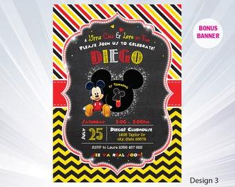 Mickey mouse invitation - mickey birthday invitation - boy birthday party - boy invitation - mickey invitation - personalized