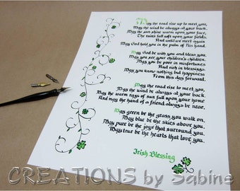 """May The Road Rise Up, Irish Blessing Handwritten Calligraphy 11x14"""" Ready To Frame Original Art Clover Ireland Traditional READY TO SHIP (2)"""