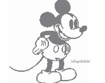 Mickey Mouse cross stitch pattern Disney pattern classic design, Instant download PDF