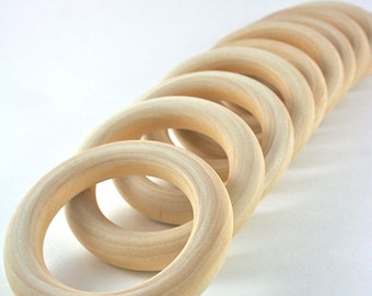 10 Wood Rings - 3 inch Unfinished Wooden Rings for Waldorf inspired crafts, hand kites, fairy rings, Montessori games
