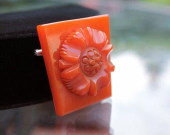 Heavily Carved Bakelite Flower Brooch in Pumpkin Orange, Bakelite Jewelry