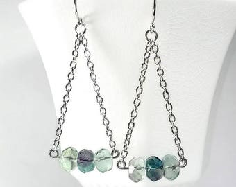 Aqua Teal Earring Aqua And Teal Fluorite Earring Long Chain Earring