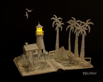 Book Sculpture - Book Art - Altered Book - Harbour with Lighthouse Paper Art