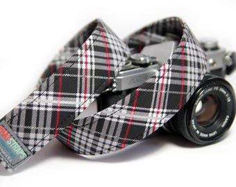 Black and Red Plaid Camera Strap