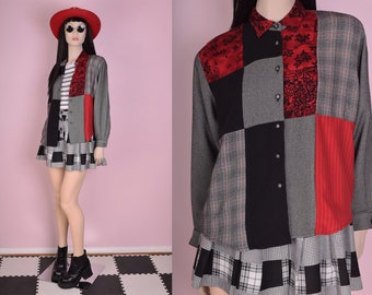 90s Patchwork Button Down Blouse/ Small/ 1990s/ Long Sleeve/ Plaid/ Floral