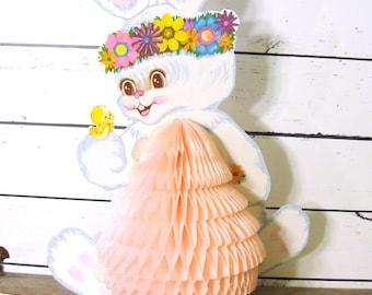 Vintage Paper Easter Bunny Centerpiece, Hippy Beistle Honeycomb Folding Easter Rabbit Decoration