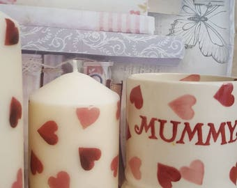 Shabby Chic Hand Decorated Emma Bridgewater Pink Hearts Themed Set Of Two Candles
