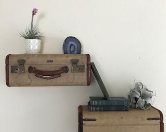 Vintage Worn Tweed Brown Suitcase Shelves
