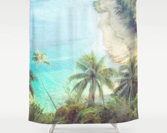 Shower Curtain, Palms, Beach, Blue, White, Waves, 71x74 inches, Exceptional Quality, fPOE