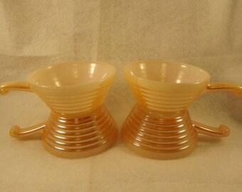 Fire King Peach Lustre Ramekins (handled bowls) Set of 4