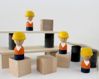 Construction Builder Wood Play Set