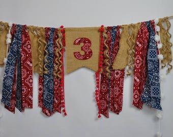 COWBOY/Rodeo (Red Number) Bandana Birthday Banner-Birthday Hanging/HIGH CHAIR Banner-Birthday Banners-Birthday Banner-Custom Banners-Party
