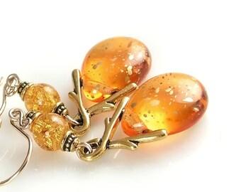 Yellow Topaz Earrings 14k Gold Fill Hooks Artisan Glass Drop Earrings Amber Topaz Teardrop Earrings Topaz Amber Earrings November Jewelry