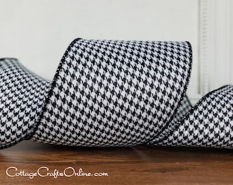 """Wired Ribbon, 4"""",  Black and White Houndstooth - TEN YARD ROLL -  """"Houndstooth 100"""" Check Craft Wire Edged Ribbon"""