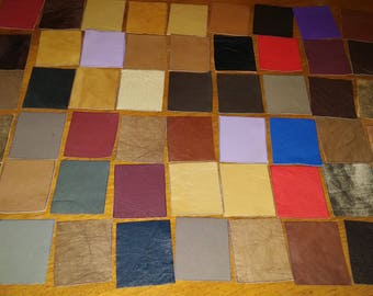 100% Real Genuine Leather Small Offcuts Remnants Various  Colors Multicolored 8 Pieces 5 x 6 cm