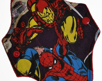 Liner Hemp Core- Marvel Heroes Reusable Cloth Mini Pad- WindPro 7.5 Inches (19 cm)
