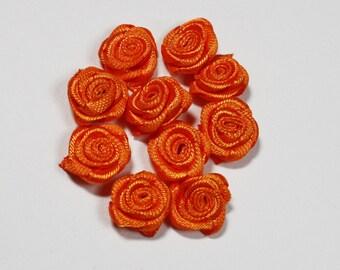 Wedding Bouquets Design, Tangerine Orange Miniature Roses, Mini Flowers Craft Ideas, Ribbon Roses Fashion Design
