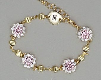 Pink Bridesmaid Bracelet -  Personalized Bracelet - Rose Gold Bridesmaid Jewelry - Bridesmaid Jewelry  Gold -  Gold Bridesmaid Bracelet
