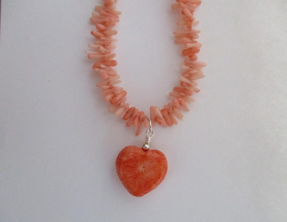 Coral Chips and Coral Heart Pendant Necklace N623173