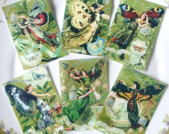 Edible Butterfly Fairies x18 Wafer Paper Art Deco Fairy Butterflies Vintage Images Cake Decorations Cupcake Cookie Toppers Pixie Faerie RTD