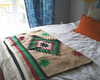 "AMAZING Mexican Southwestern Saddle Blanket / 1980s tribal print / 79"" x 48"""