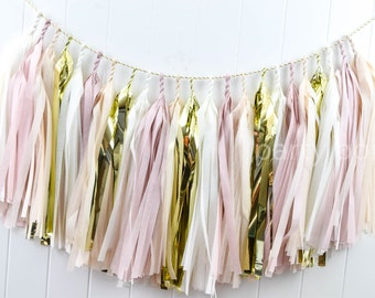 Blush, Champagne & Gold tassel garland // wedding and party decoration