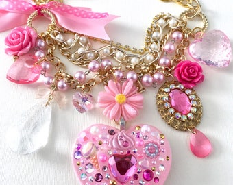 SALE Pretty Pink Marie Antoinette Eat Cake Kawaii Resin Charm Statement Necklace