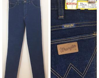 70s Wrangler Straight Leg Dark Denim Jeans, Deadstock, NWT, Women's Size Medium to Large, Tall, 31 Waist
