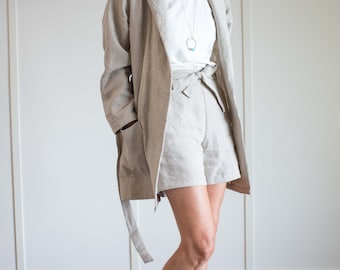 Short Linen Robe/Jacket, Linen Robe, Linen Jacket, Linen Robe Women, Linen Robe Pockets, Linen Jacket Women, Loose Linen Clothing