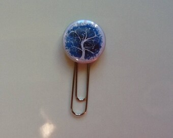 Very pretty tree of life blue paperclip bookmark
