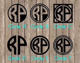Two Letter Circle Monogram Decal Sticker