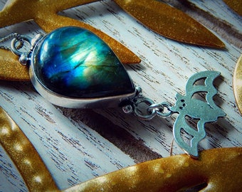 Select Charm - Lunar Goddess - Silver Labradorite Aurora Borealis Pendant Charm