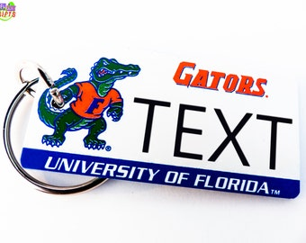 Personalized University of Florida Gators Keychain Tag - Vintage - Machine Engraved -Fan Souvenir-Coach Gift-Official Licensed NCAA Key Ring