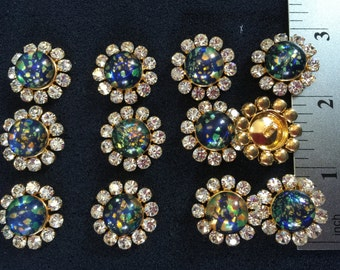 12 Crystal Black Opal Gold Buttons. Made in Czech Republic. RB687, Size 7/8.