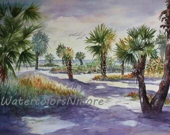 Florida Beach Path Scene, Shadow Dancers 11 x 15 watercolor print by WatercolorsNmore