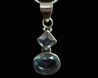 Captivating, Blue Topaz and Silver Pendant Necklace