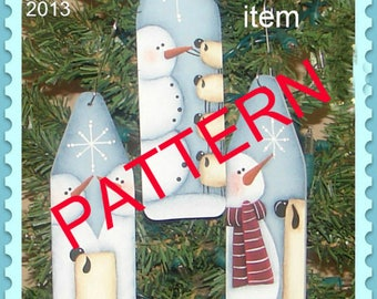 Tole painting epattern,  Snowman and Sheep pattern, Christmas pattern,  painting pattern, decorative painting , Christmas ornaments,