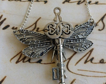 Dragonfly key necklace dragonfly lock key with wings