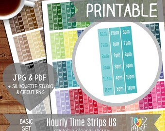 Hourly Strips Printable Planner Stickers, Erin Condren Planner Stickers, EC Printable Stickers, US Time Strips Stickers - Cut Files