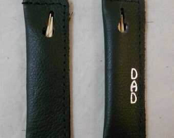 2 Leather Toothpick Holders, Soft Carrying Case, Carrier, FREE Personalization