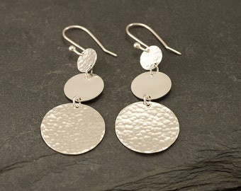 Silver Hammered Disc Earrings- Large Sterling Silver Earrings- Silver Hoop Earrings- Dangle Drop Earrings- Large Disc Earrings