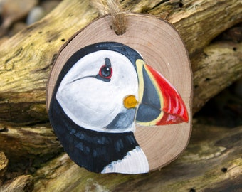 Puffin original painting, puffin art, wood slice painting, painting on wood, miniature art, British wildlife, nature over gift, sea bird