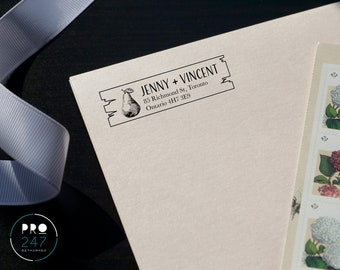 Customized Self-Inking Return Address Stamp / Wood-mount Rubber Stamp / Clear Acrylic Block (RS0007)